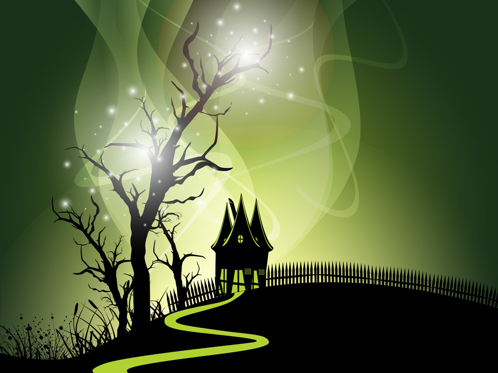 Halloween Night Background With Haunted House And Dead Trees. Eps 10