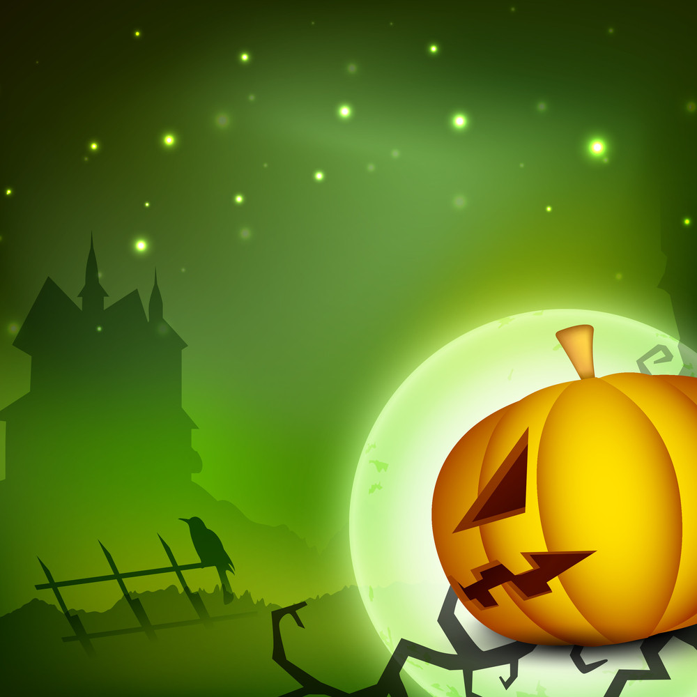 Halloween Night Background With Scary Pumpkin And Silhouette Of Haunting House.