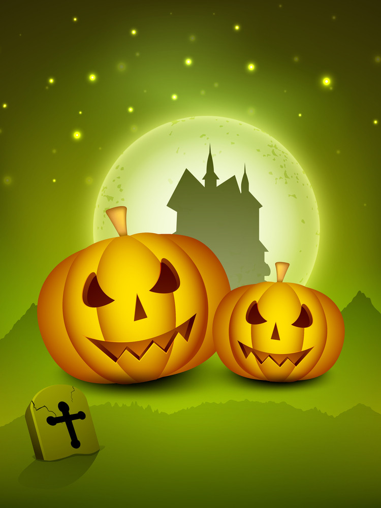 Halloween Night Background With Scary Pumpkins And Silhouette Of Haunted House.