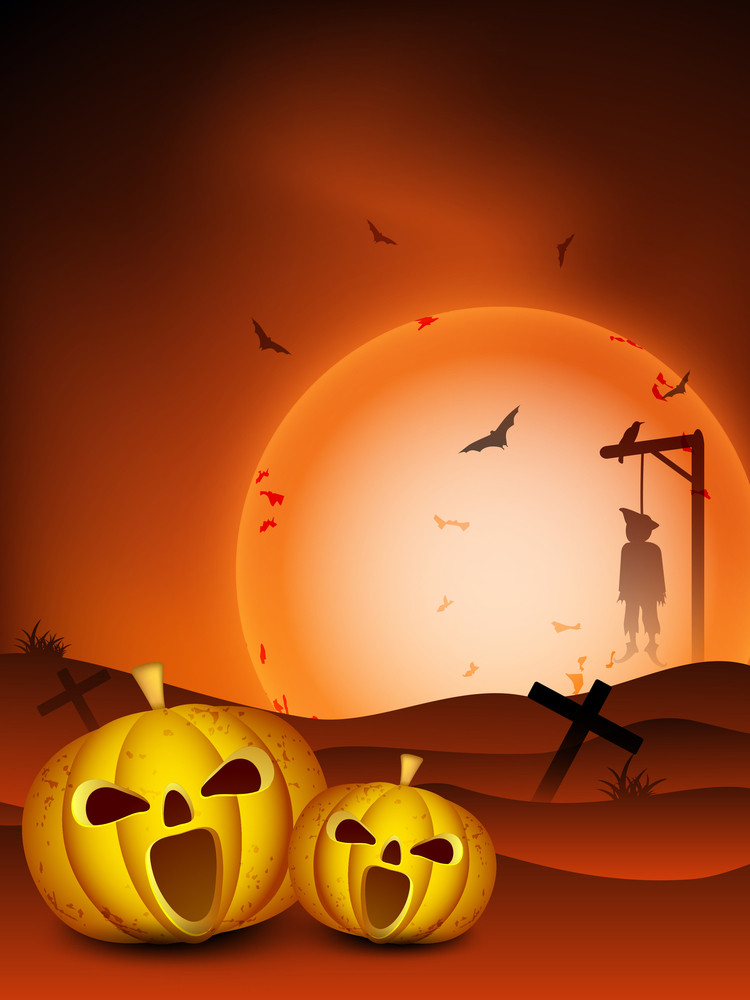 Halloween Night Background With Scary Pumpkins.