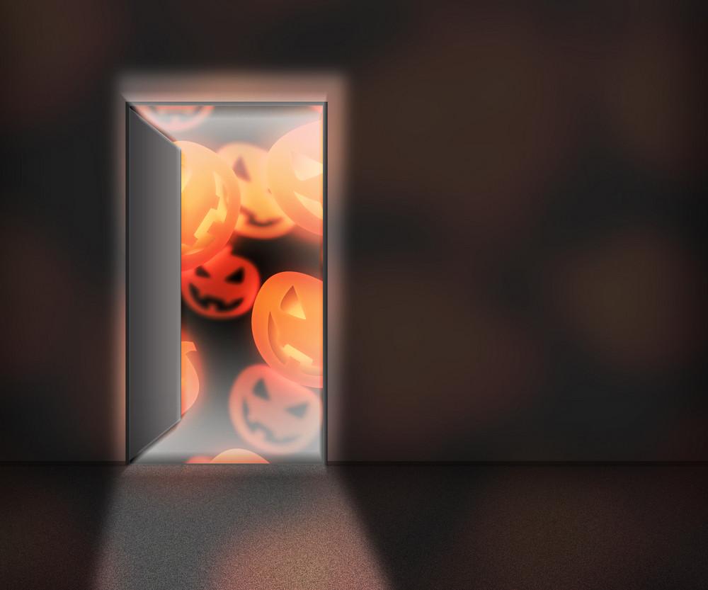 Halloween Open Door Background