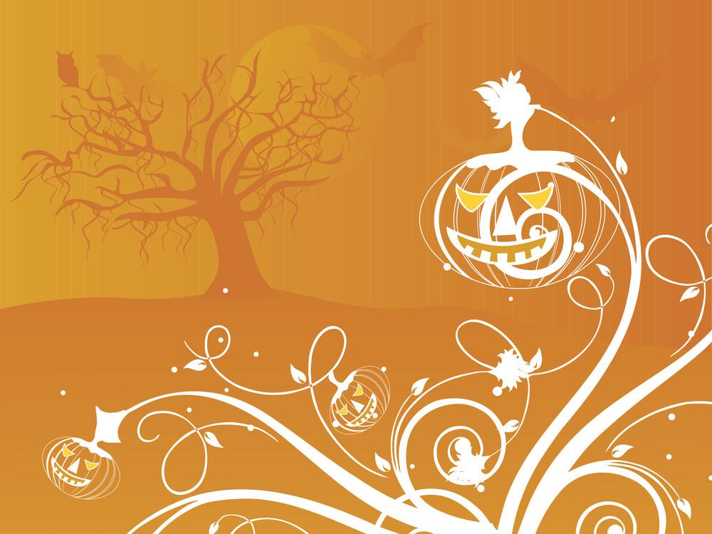 Halloween Orange Background Illustration