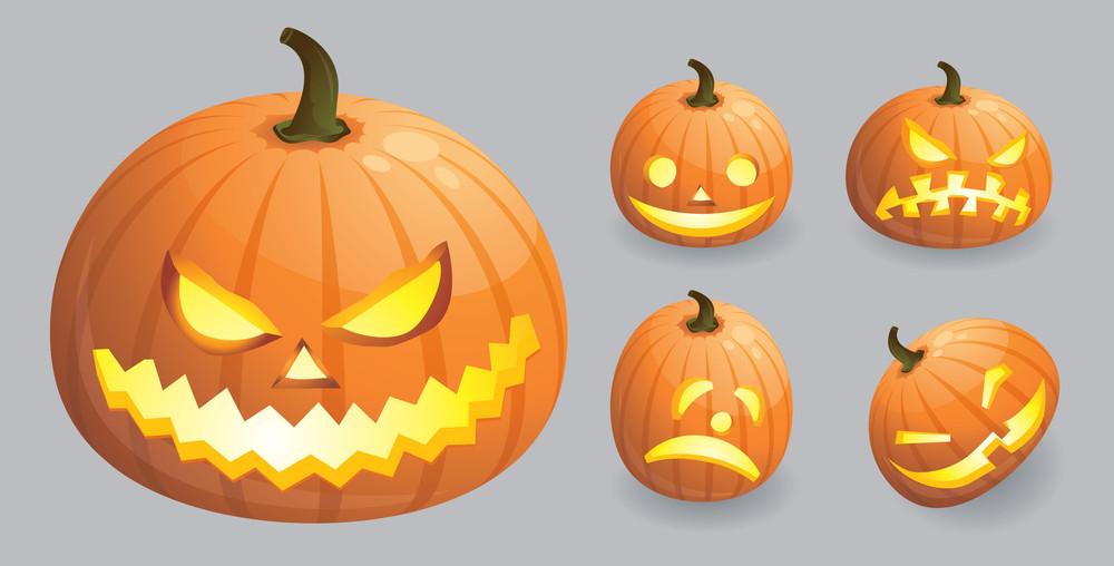 Halloween Pumpkin Emotions. Vector.