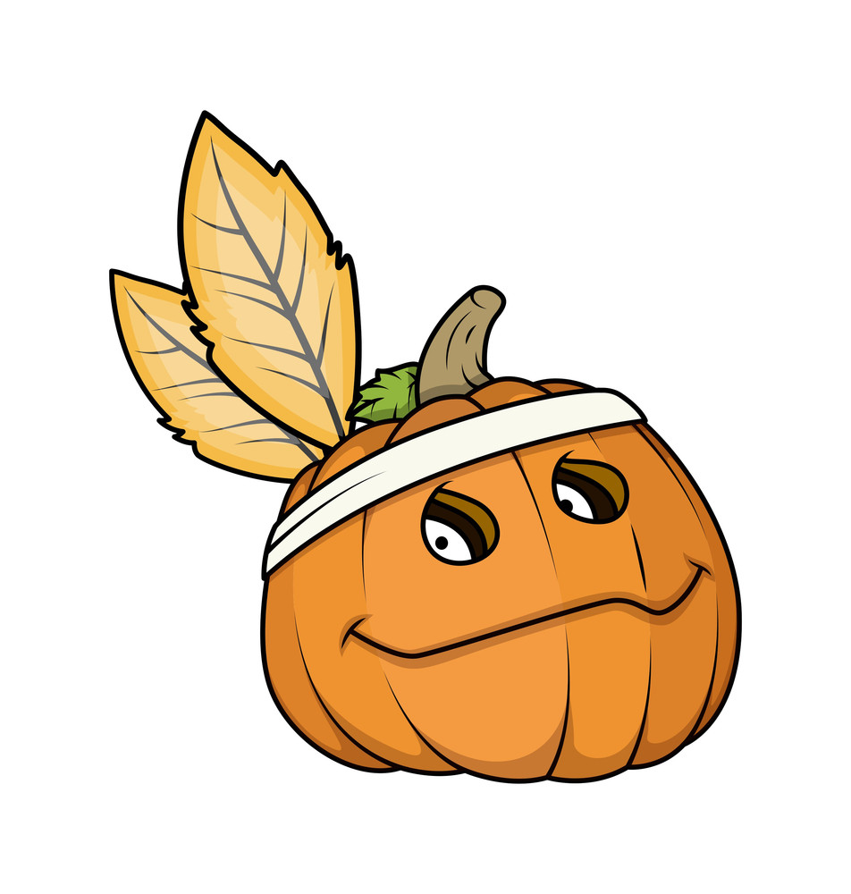 Halloween Pumpkin Face With Leaves Vector