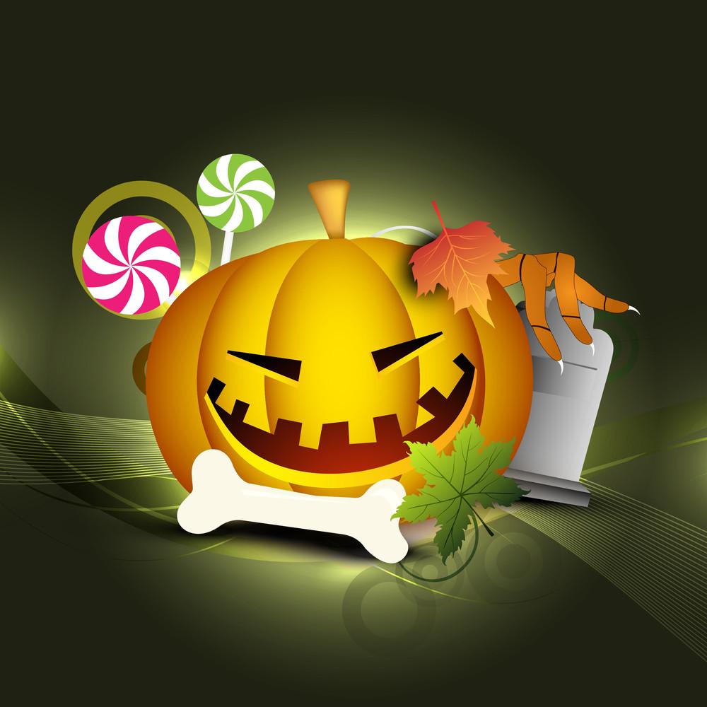 Halloween Pumpkin On Retro Background
