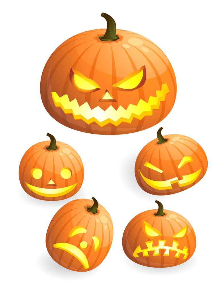 Halloween Pumpkin With Scary. Vector.