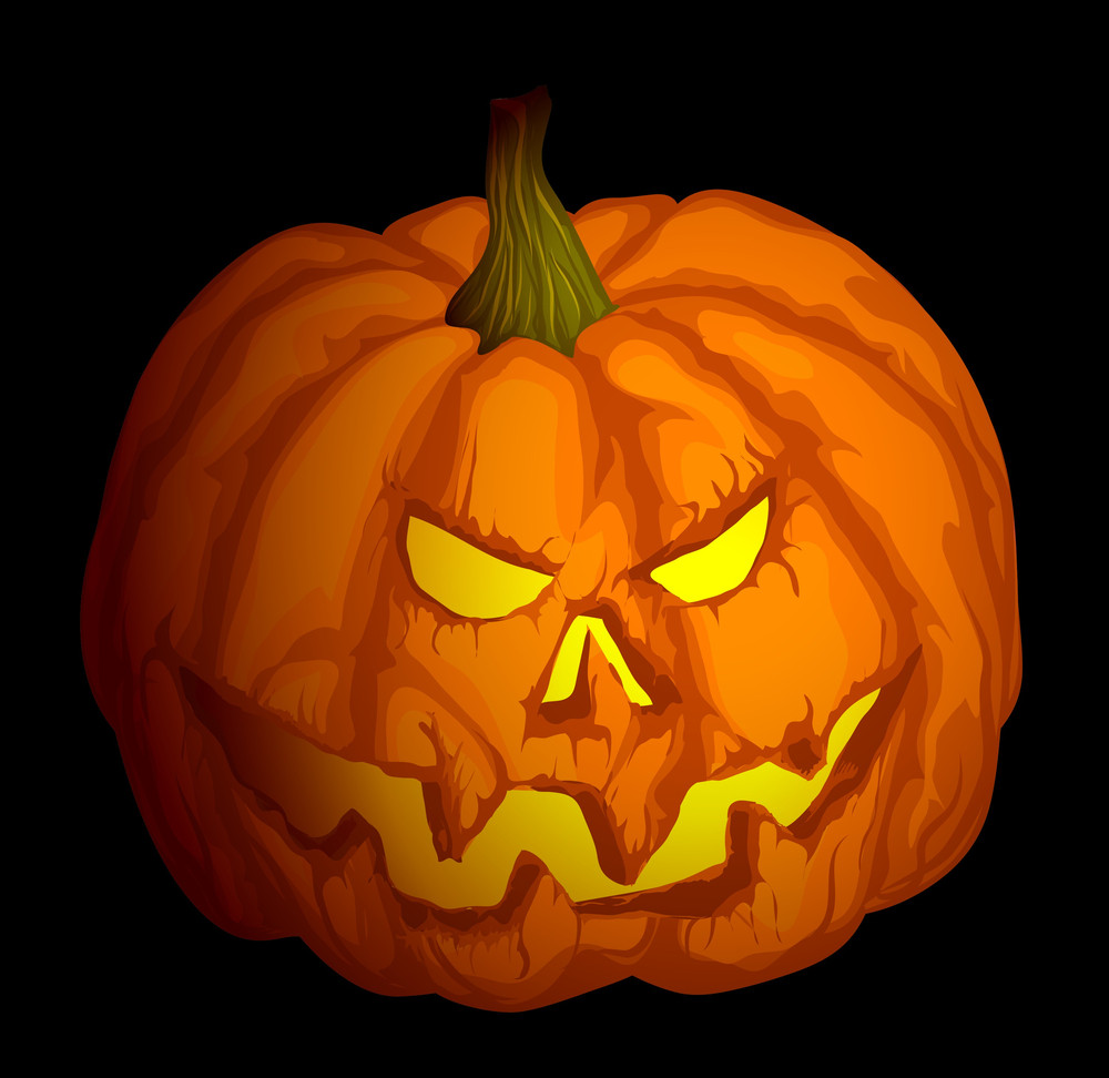 Halloween Pumpkin With Scary. Vector.