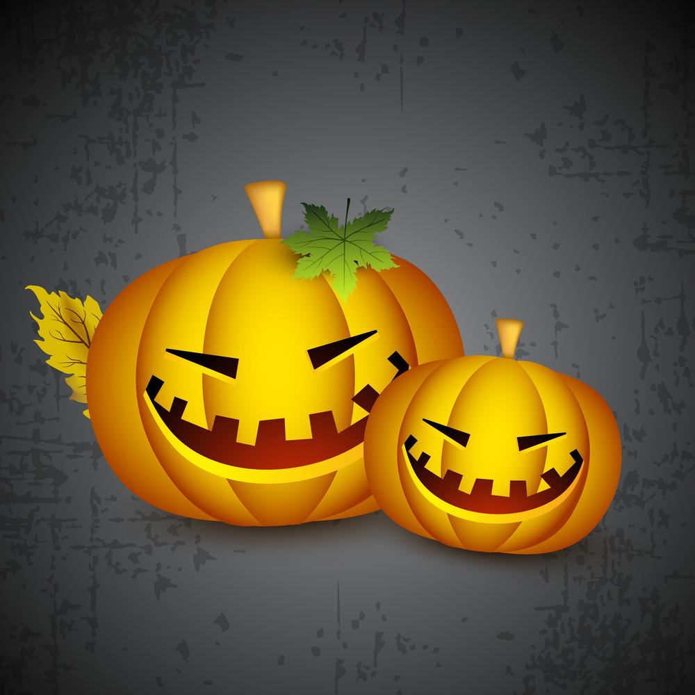 Halloween Pumpkins On Grungy Background