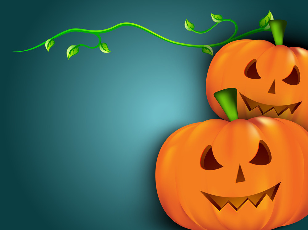 Halloween Pumpkins With Green Leaves