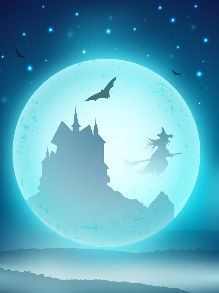 Halloween Scary Full Moon Night Background Haunted House