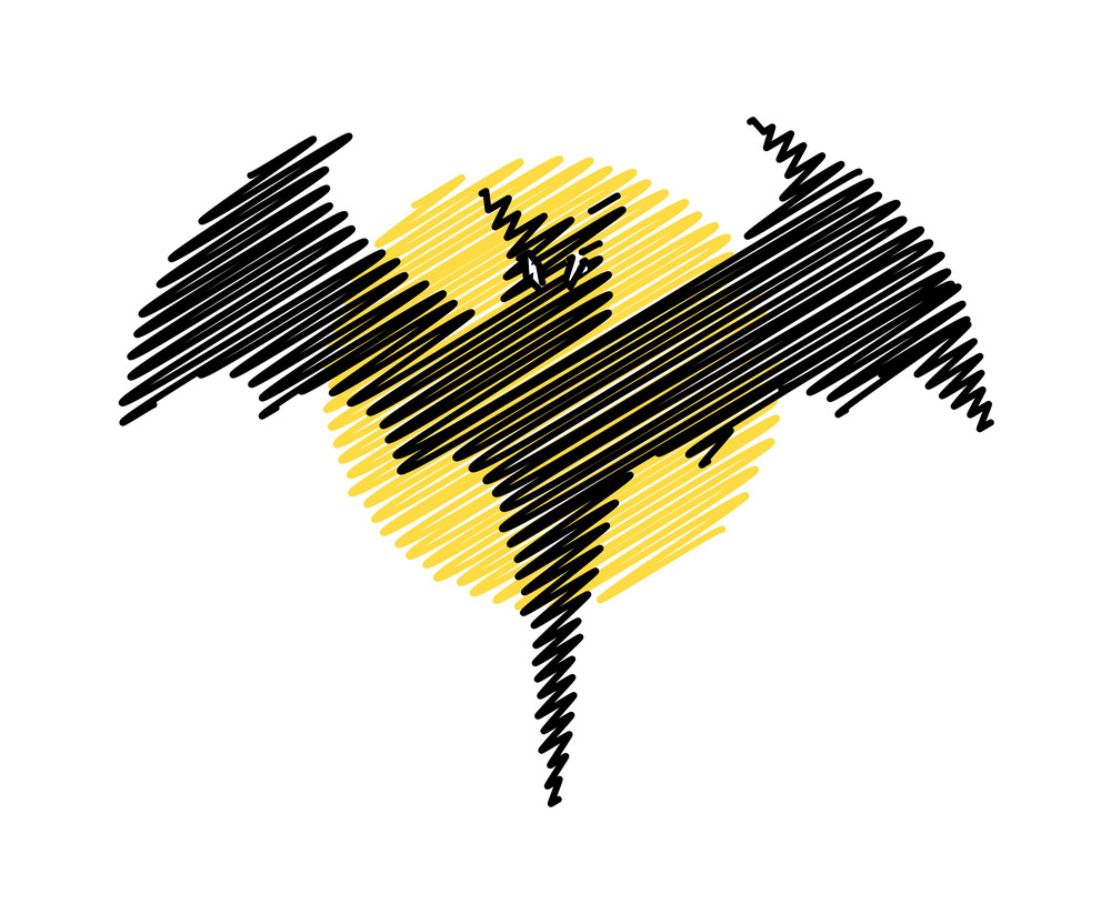Halloween Scribble Bat Shape