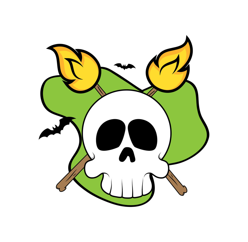 Halloween Skull Face With Fire Vector Graphic