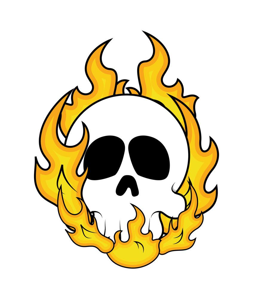 Halloween Skull Fire Vector Graphic