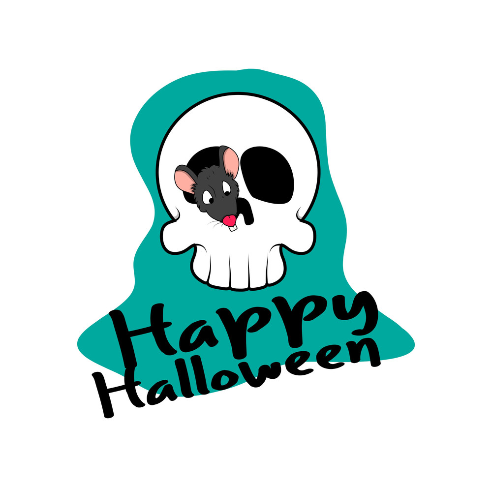 Halloween Skull With Rat Vector Graphic