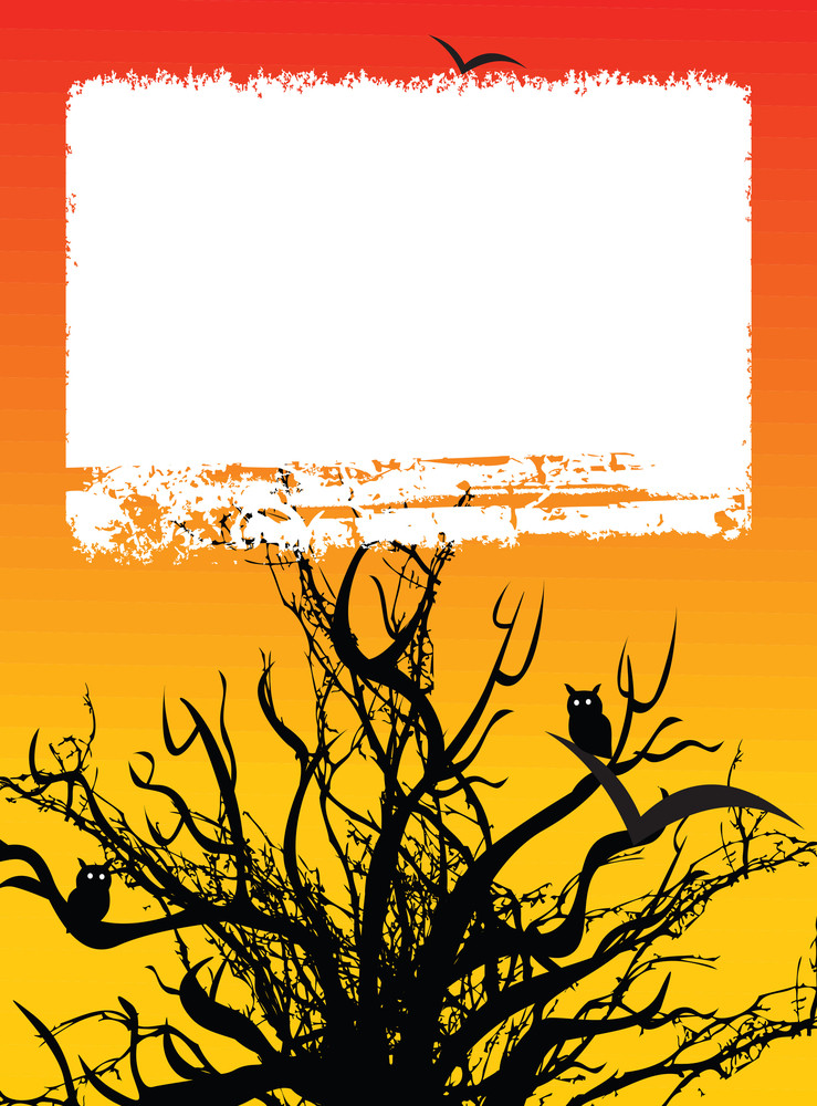Halloween Tree And Frame On Orange Background