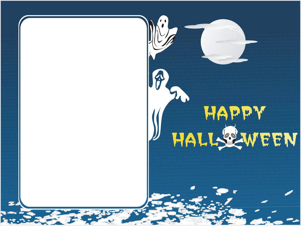 Halloween White Frame With Blue Abstract Background