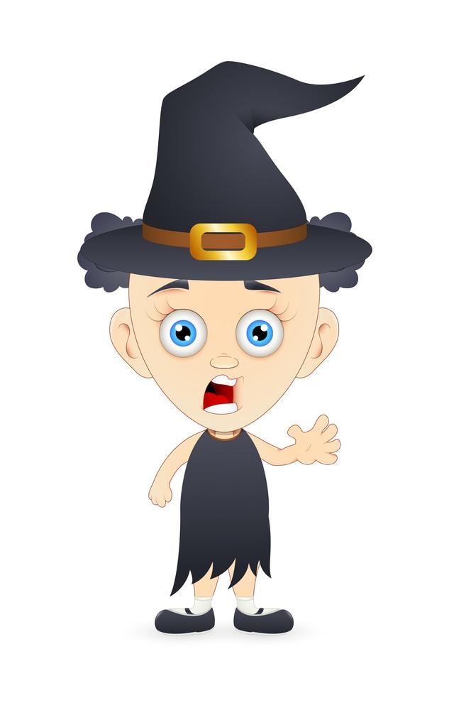 Halloween Witch Cartoon Girl