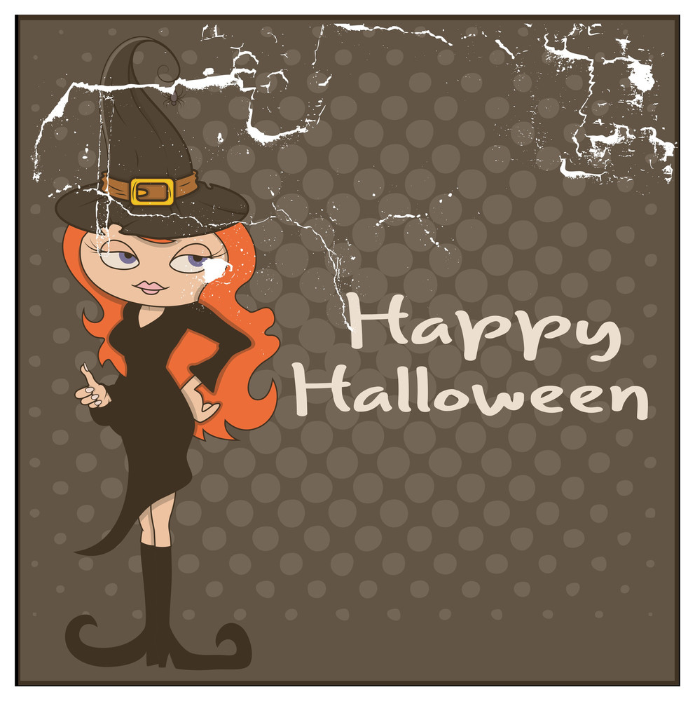 Halloween Witch Character Grunge Background