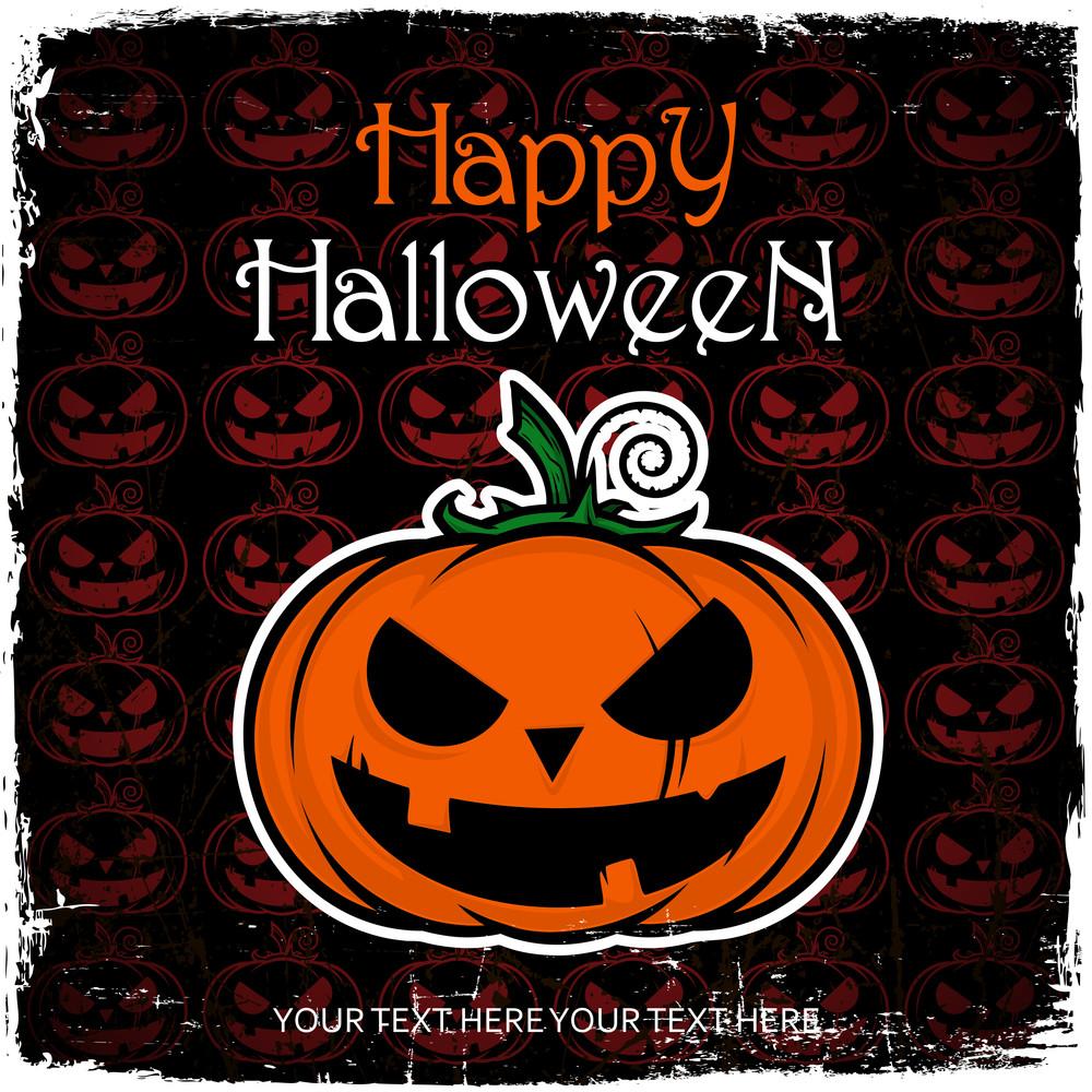 Hallowen Greeting Card With Cartoon Pumpkin. Vector Illustration.