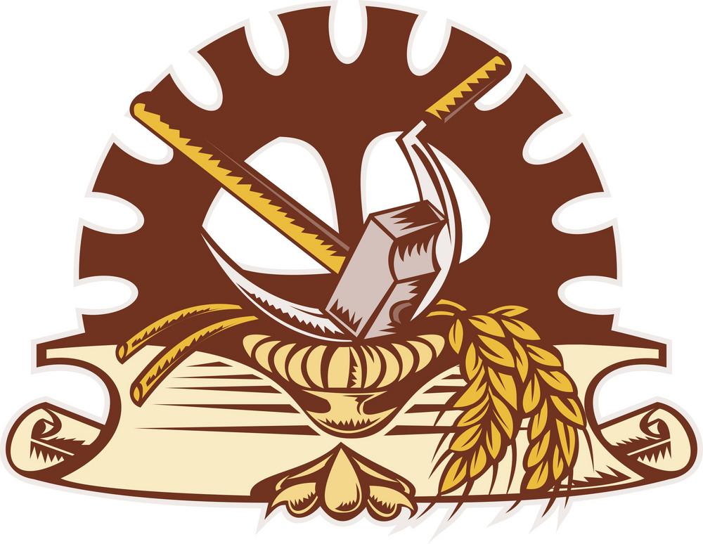 Hammer Sickle Wheat Mechanical Gear Cog