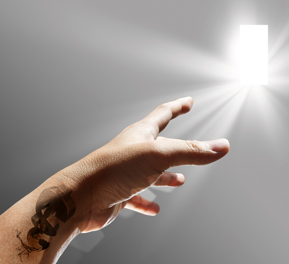 Hand And Dollar Tattoo Sign Reach To The Light
