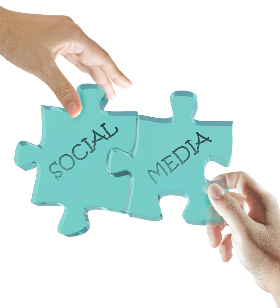 Hand And Puzzles Social Media Concept