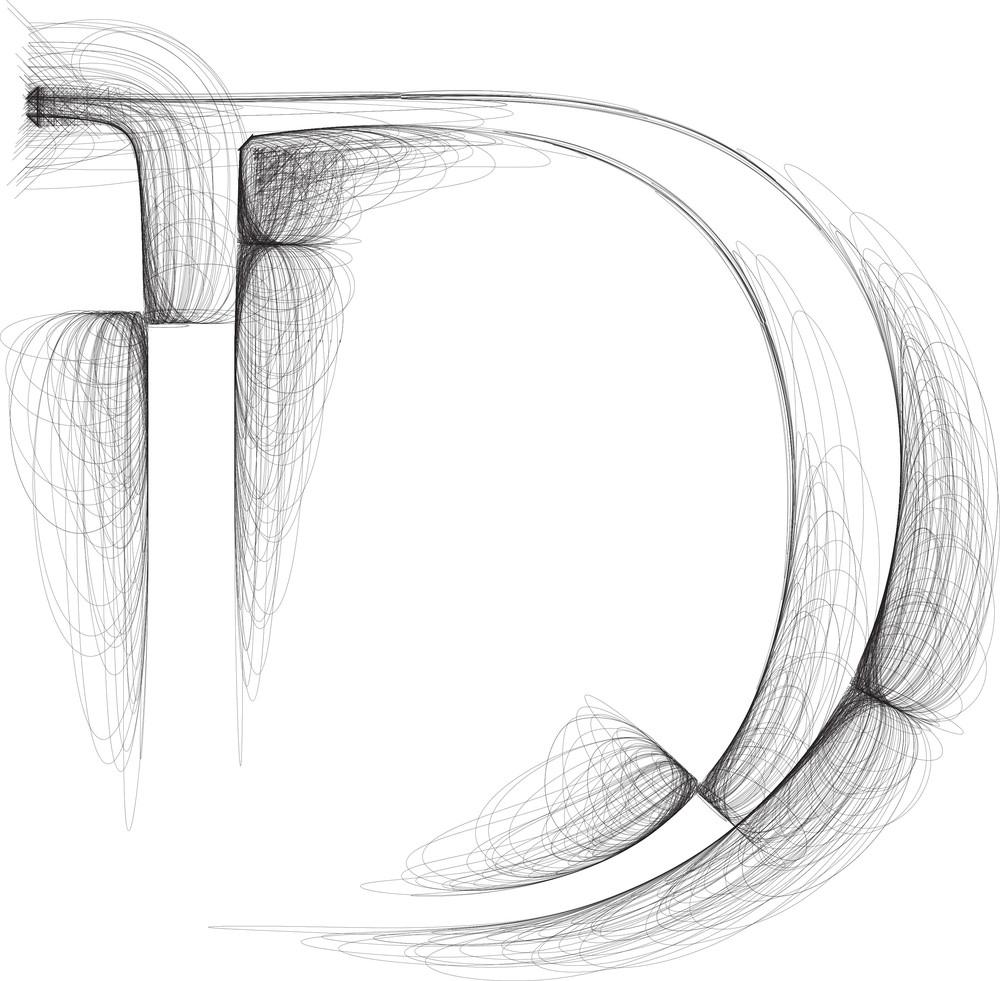 Hand Draw Font. Letter D. Vector Illustration