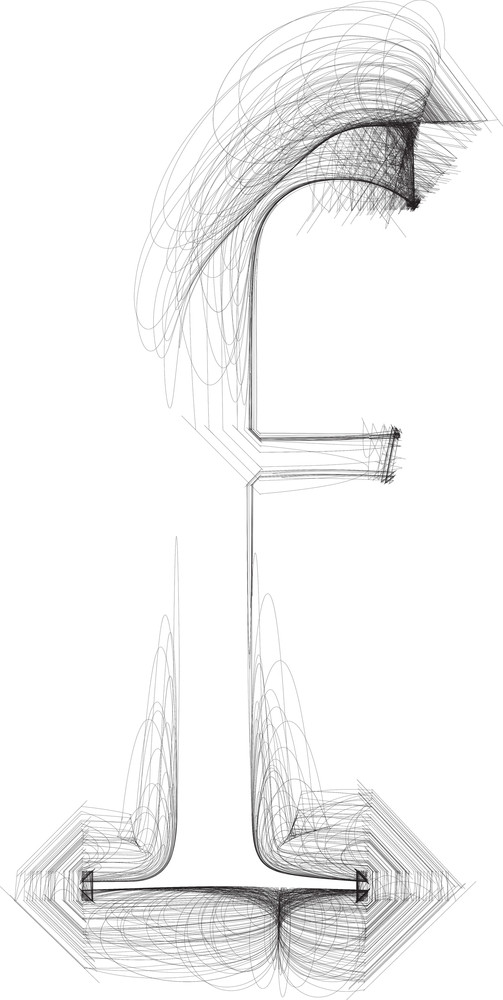 Hand Draw Font. Letter F. Vector Illustration