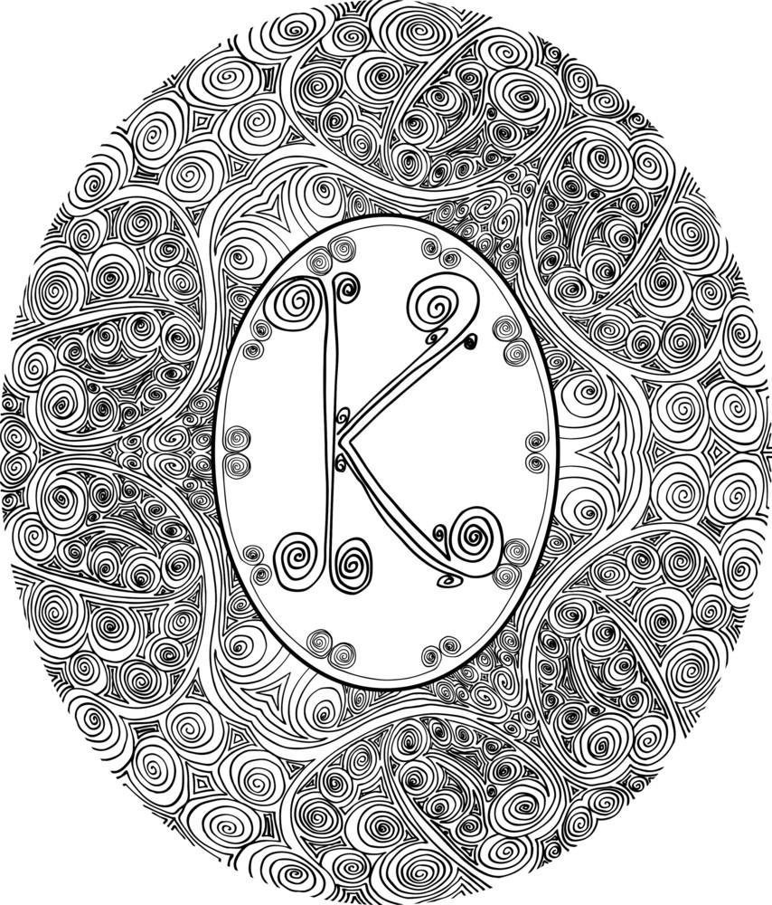 Hand Draw Font. Letter K. Vector Illustration