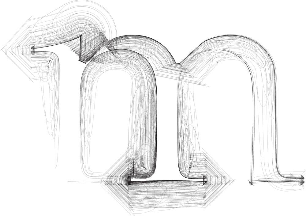 Hand Draw Font. Letter M. Vector Illustration