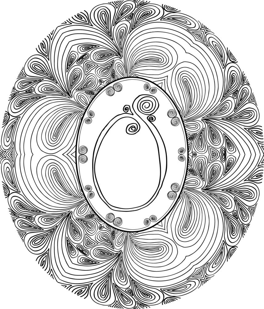 Hand Draw Font. Letter O. Vector Illustration