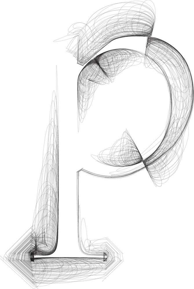 Hand Draw Font. Letter P. Vector Illustration