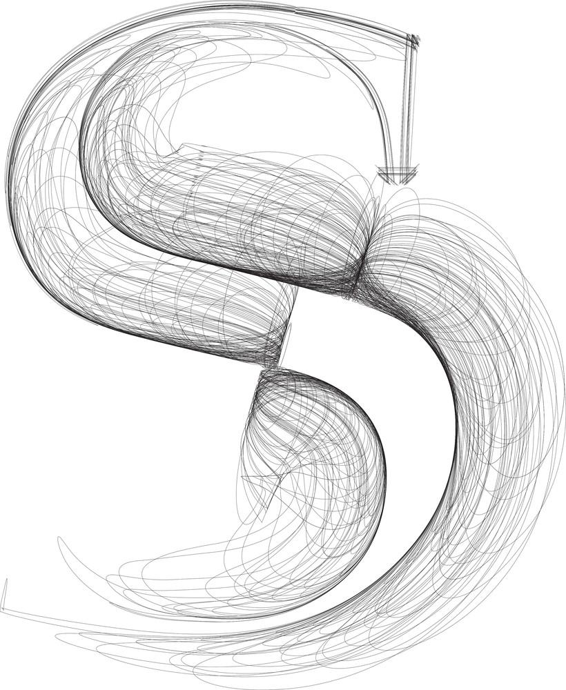 Hand Draw Font. Letter S. Vector Illustration