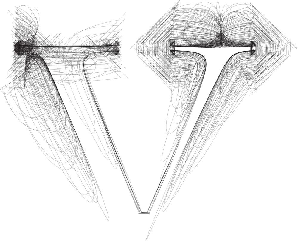 Hand Draw Font. Letter V. Vector Illustration