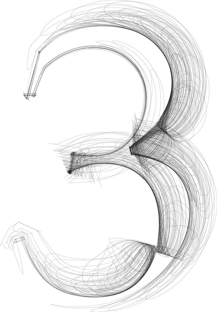 Hand Draw Font. Number 3. Vector Illustration