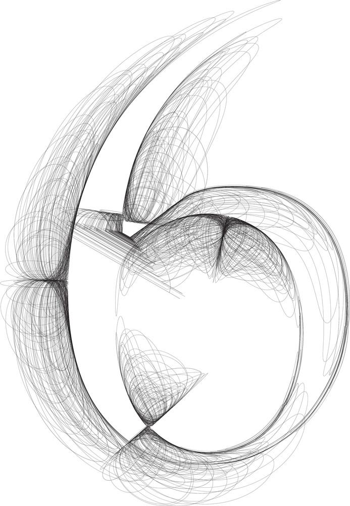 Hand Draw Font. Number 6. Vector Illustration