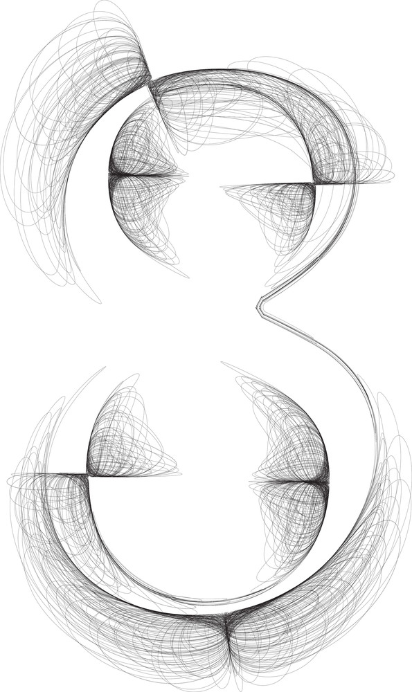 Hand Draw Font. Number 8. Vector Illustration
