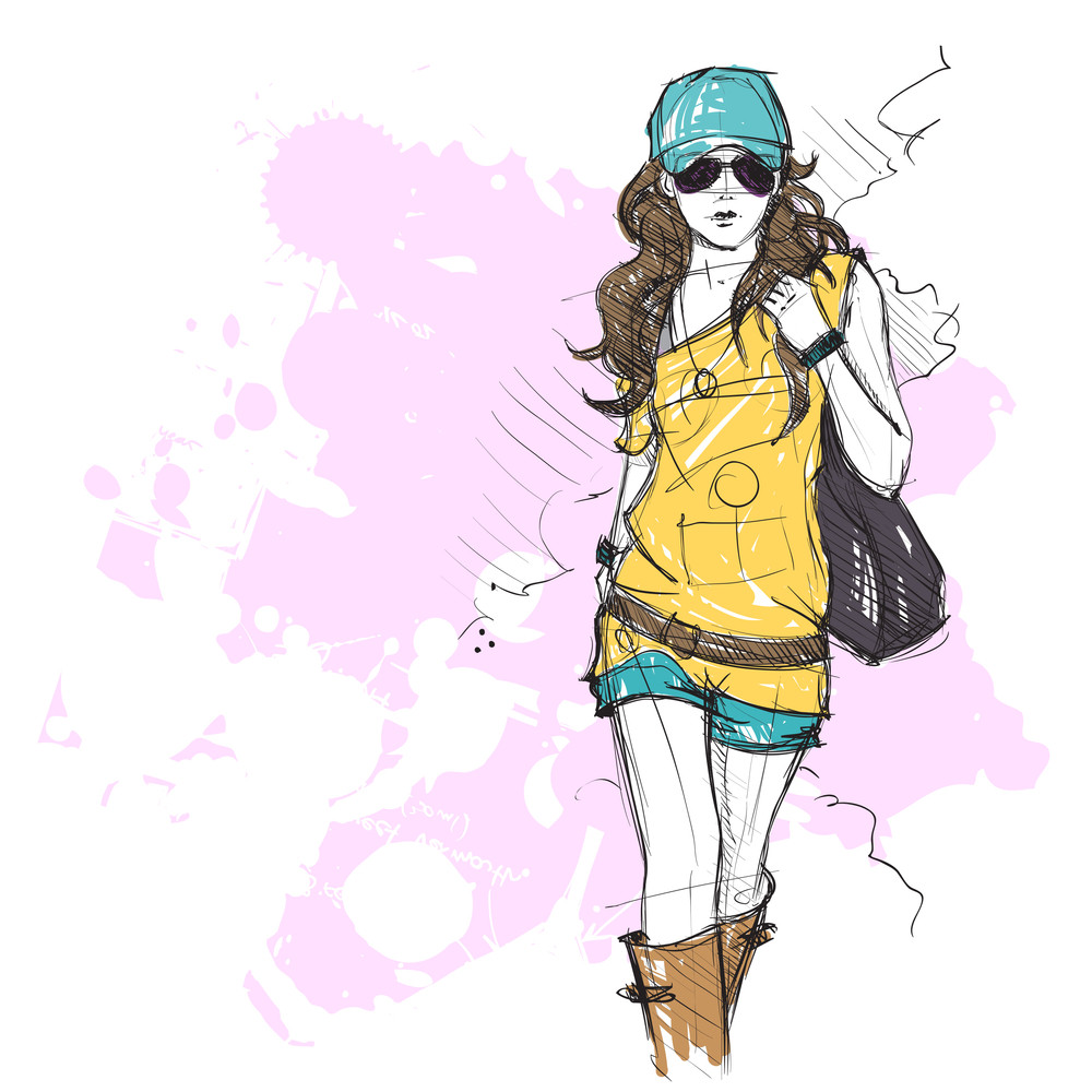 Hand Drawing Of A Pretty Fashion Girl In Sketch Style Vector Illustration Royalty Free Stock