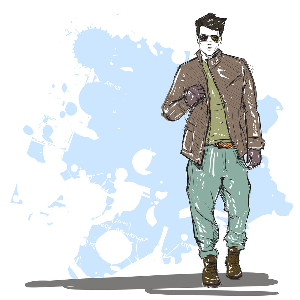 c8af6a2fa14 Hand Drawing Of A Stylish Boy In Sketch Style. Vector Illustration ...