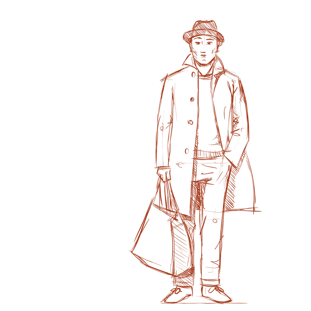 Hand drawing of a stylish boy in sketch style vector illustration