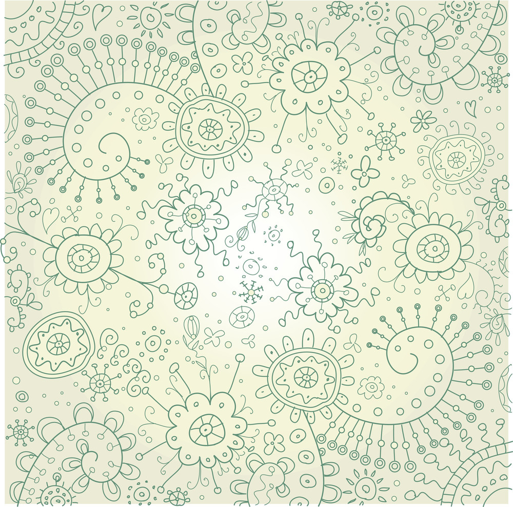 Hand-drawn Abstract Doodles And Flowers Border Design Vector Illustration-