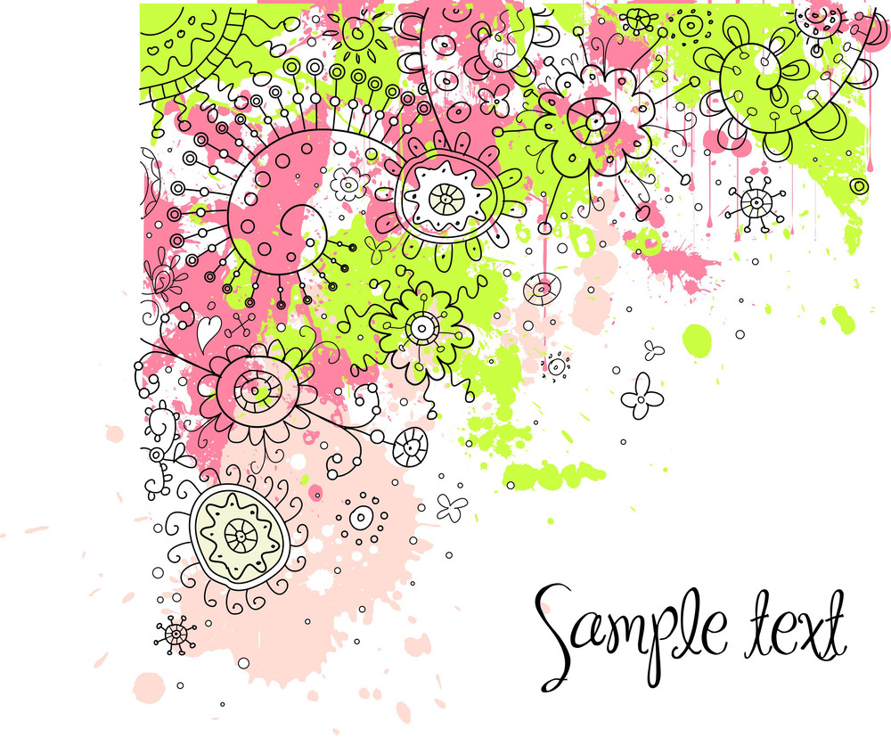 Hand-drawn Abstract Doodles And Flowers Vector Illustration-