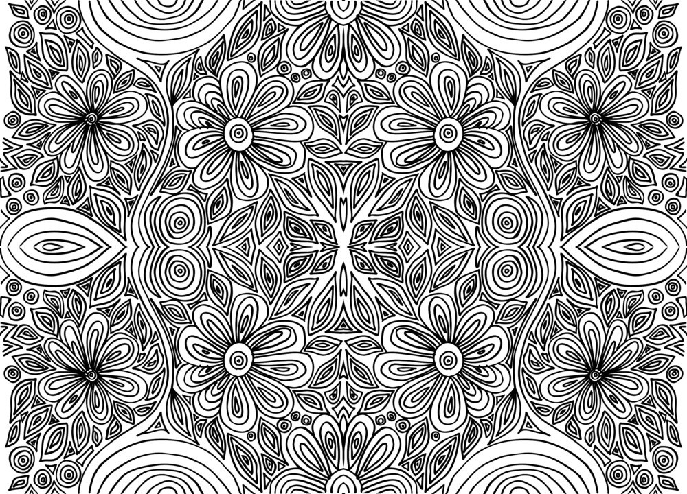 Hand Drawn Abstract Flowers. Vector Illustration.
