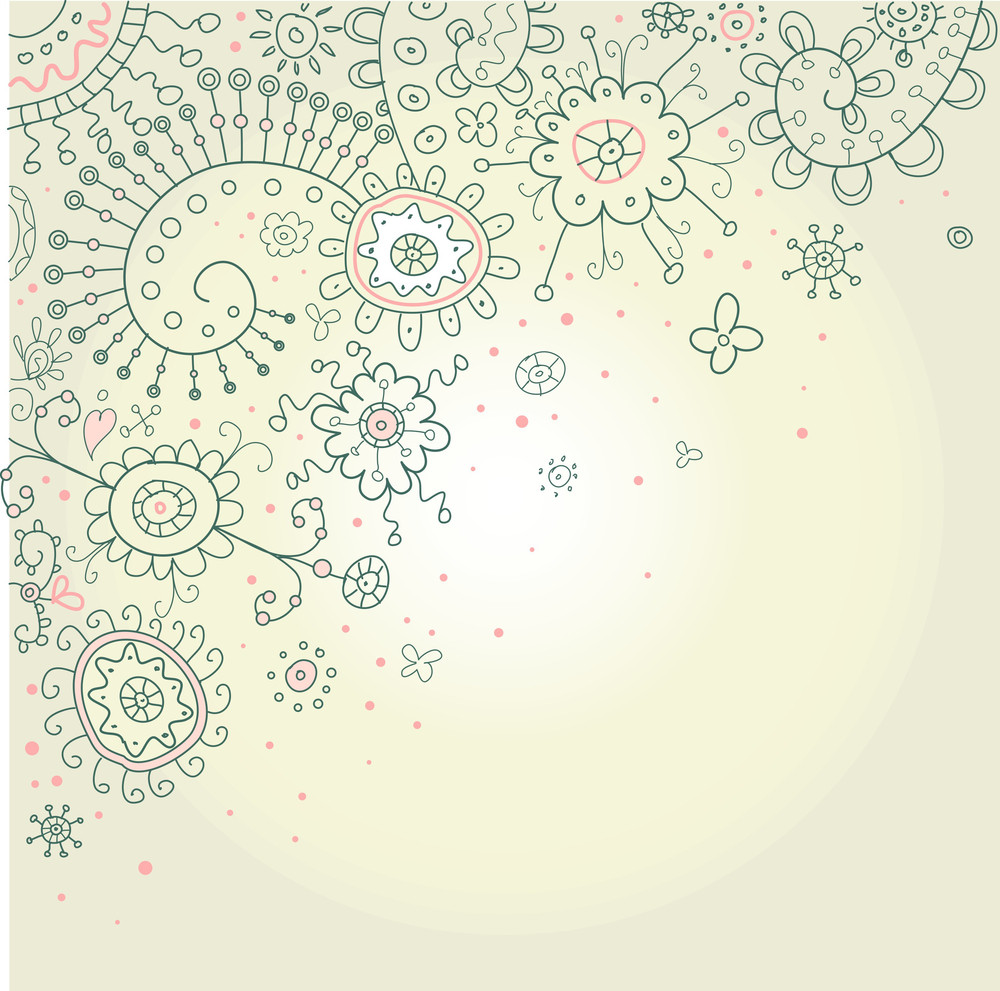 Hand-drawn Abstract Henna Doodles And Flowers Vector Illustration-