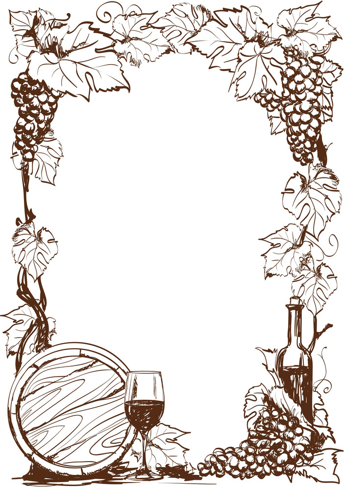 Hand Drawn G rapeseed And Bottle Of Wine. Vector Decorative Page Template