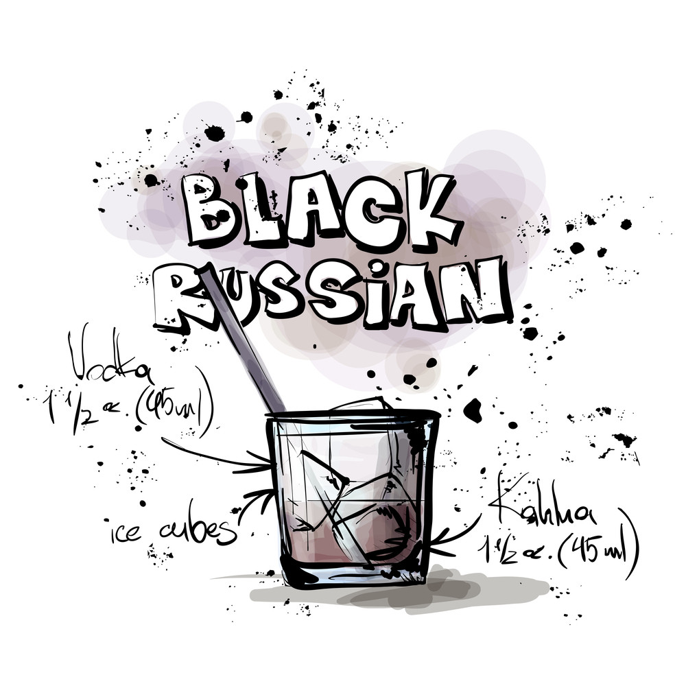 Hand Drawn Illustration Of Cocktail. Black Russian. Vector Collection.