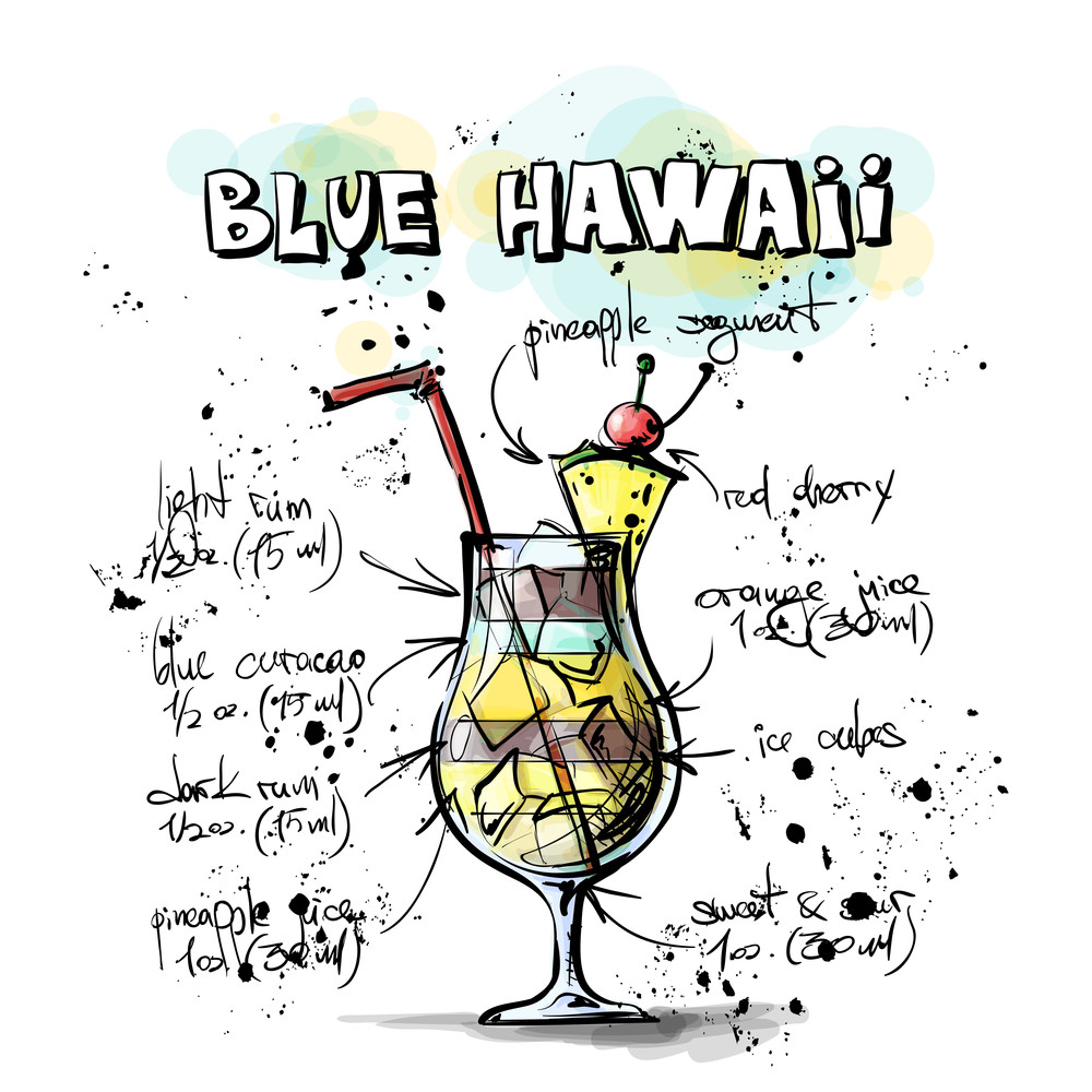 Hand Drawn Illustration Of Cocktail. Blue Hawaii. Vector Collection.