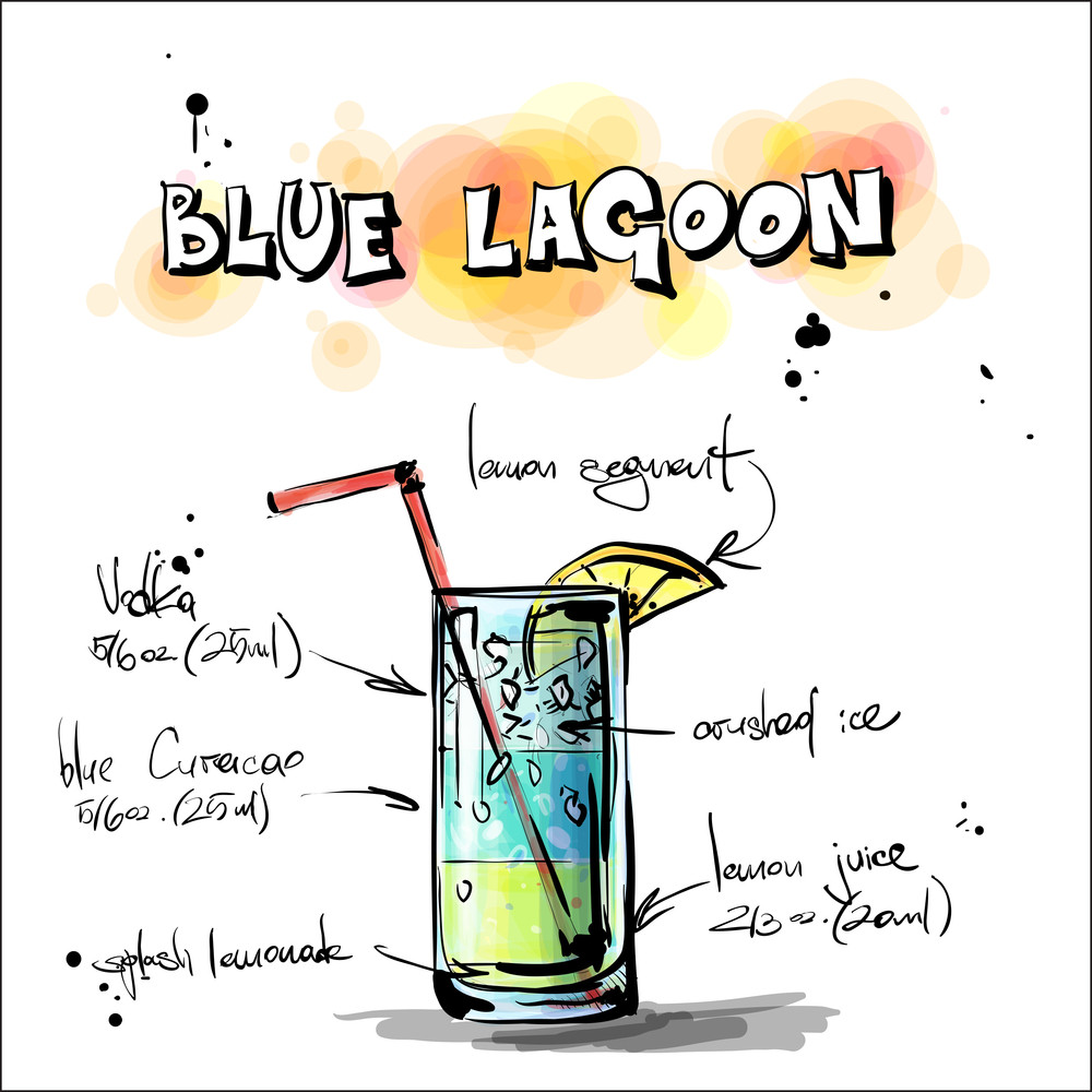 Hand Drawn Illustration Of Cocktail. Blue Lagoon. Vector Collection.
