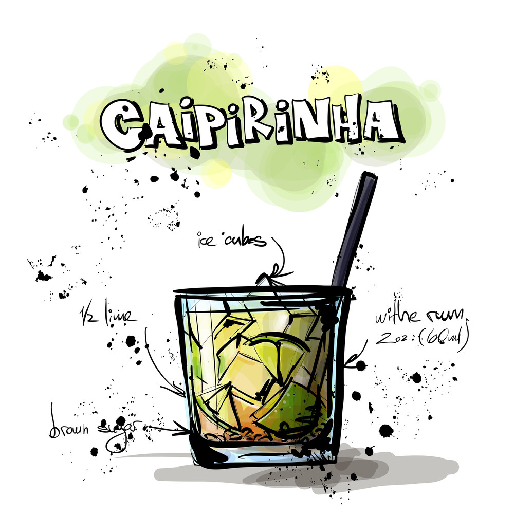Hand Drawn Illustration Of Cocktail. Caipirinha. Vector Collection.