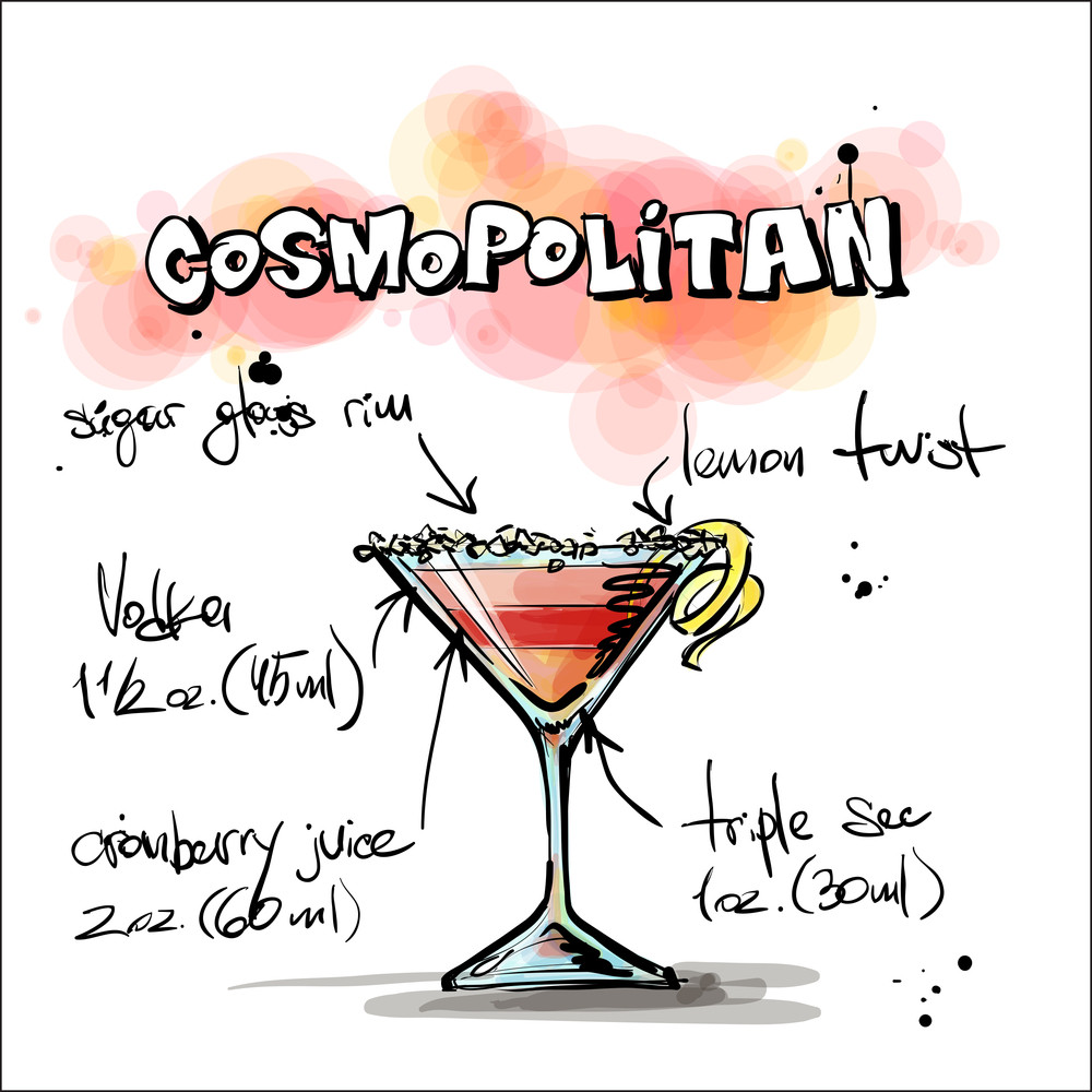 Hand Drawn Illustration Of Cocktail. Cosmopolitan. Vector Collection.